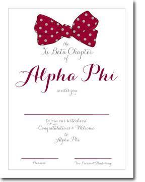 Bid Day Card Sorority Recruitment Template by Alpha Phi Bid Day Card From Truly Alpha Phi