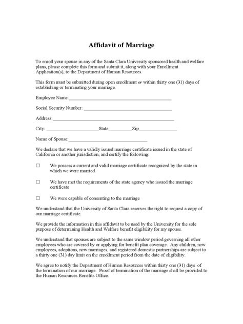 Affidavit Of Support Sle Letter Marriage Affidavit Of Marriage 13 Free Templates In Pdf Word Excel