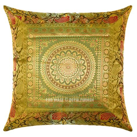 Silk Decorative Pillows Green Floral Medallion Circle 16x16 Decorative Silk Throw