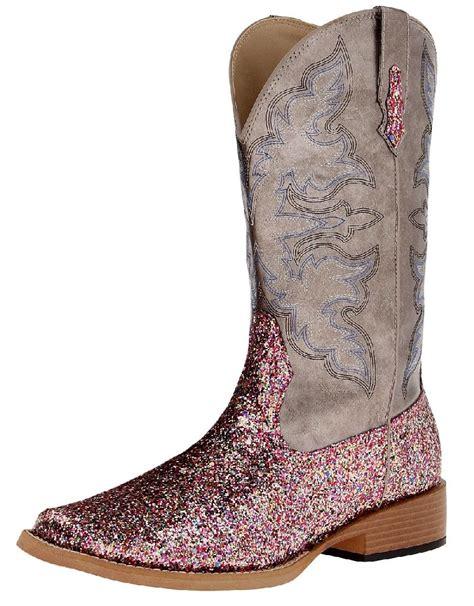 roper shoes womens roper western boots womens glitter pink grey 09 021 1901