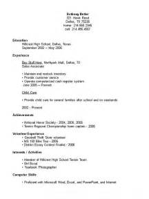 Resume For High School Student by High School Student Resume Exle