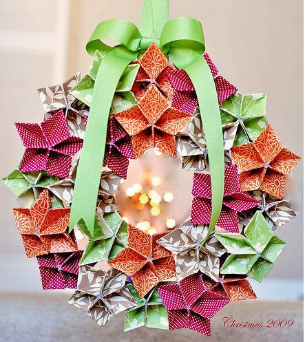 origami maniacs origami flowers to make a christmas wreath