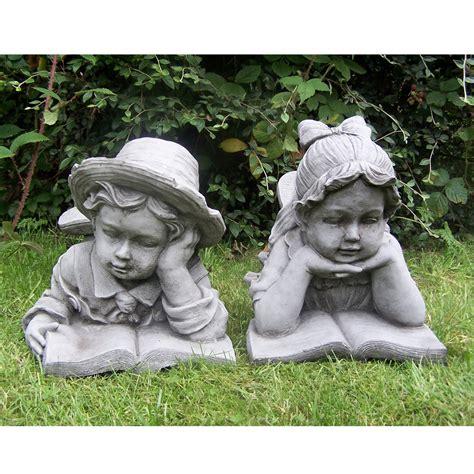 boy  girl  book hand cast stone garden ornament
