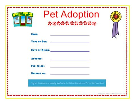 pet adoption certificate template pet adoption certificate for the to fill out about