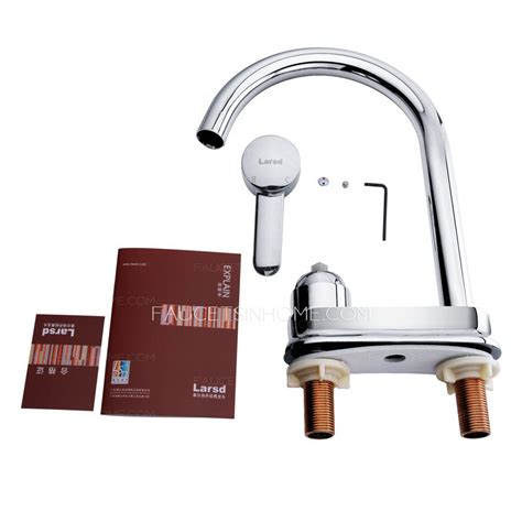 kitchen faucet with separate handle simple chrome copper rotatable two holes kitchen faucet