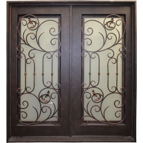 home depot wrought iron paint trento 35 in x 78 in lite bronze wrought iron