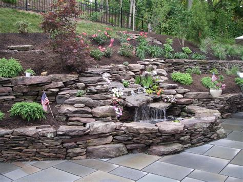 Backyard Waterfalls For Sale Double Waterfall Pond With Dry Stack Stone Wall