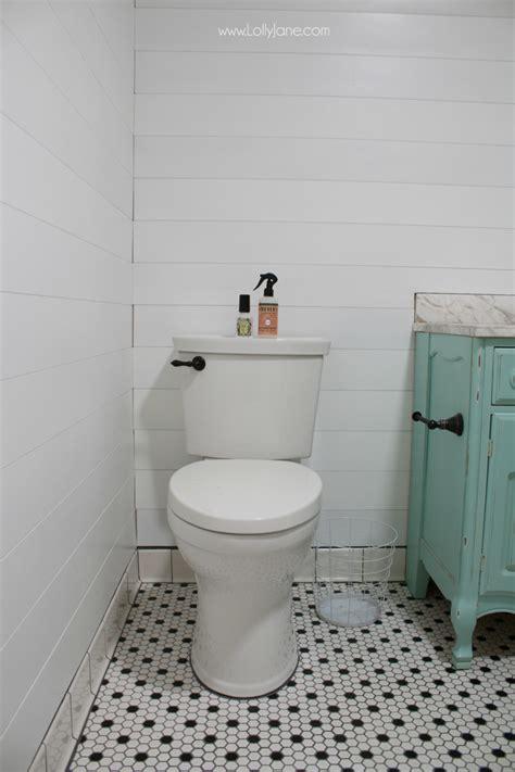 Peel amp stick shiplap bathroom wall treatment lolly jane