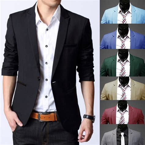 Slim Fit Atasan Formal Casual O Black Ot Kaos T Shirt Pria fashion s slim fit stylish formal casual one button suit blazers coat jacket ebay
