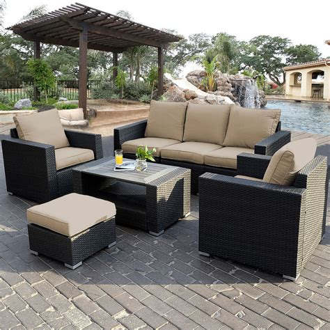 patio wicker set 7pc outdoor patio sectional furniture pe wicker rattan