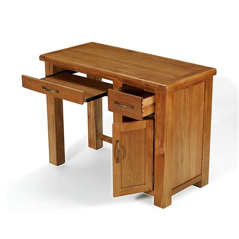 Rushden Solid Oak Furniture Small Computer Desk Small Oak Computer Desk