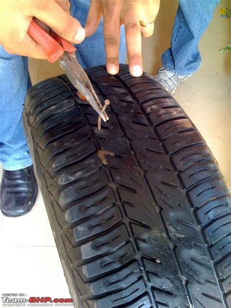 Size 2 Car Garage diy guide how to repair a tubeless tyre puncture team bhp