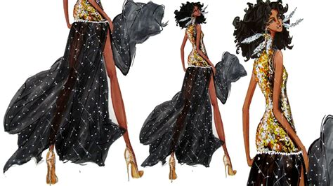 gold sequins and see through fabric fashion illustration