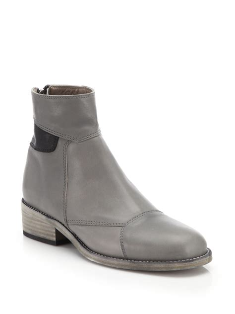 grey leather boots ld tuttle block paneled leather boots in gray lyst