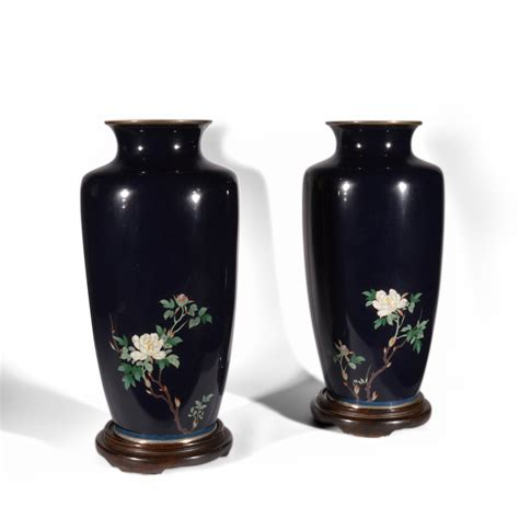 Cloisonne Vase Antique by Antique Pair Of Japanese Blue Cloisonne Vases Just