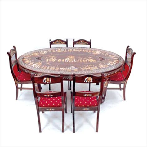 Oval Dining Tables For 6 Oval Dining Table With 6 Chairs In Hyderabad Telangana Lepakshi Handicrafts Emporium