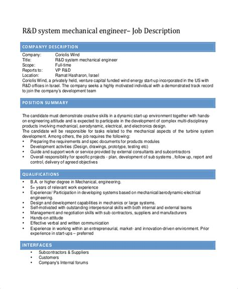 design engineer job description mechanical sle mechanical engineering job description 10