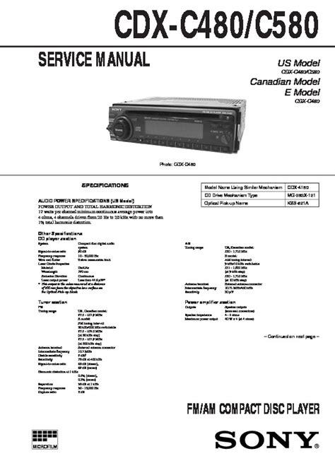 Sony Cdx C480 Cdx C580 Service Manual Free Download