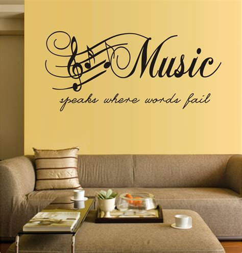wall decal quotes for living room decor ideasdecor ideas free shipping music speaks where words fail romantic