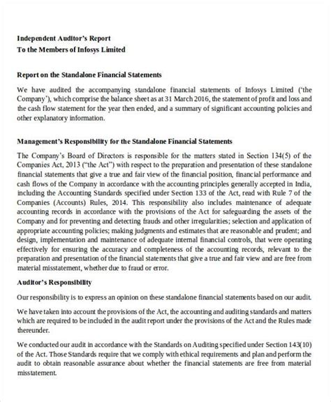 Financial Statement Audit Report Template