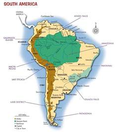 south america map with mountains iguazu falls map depicting location