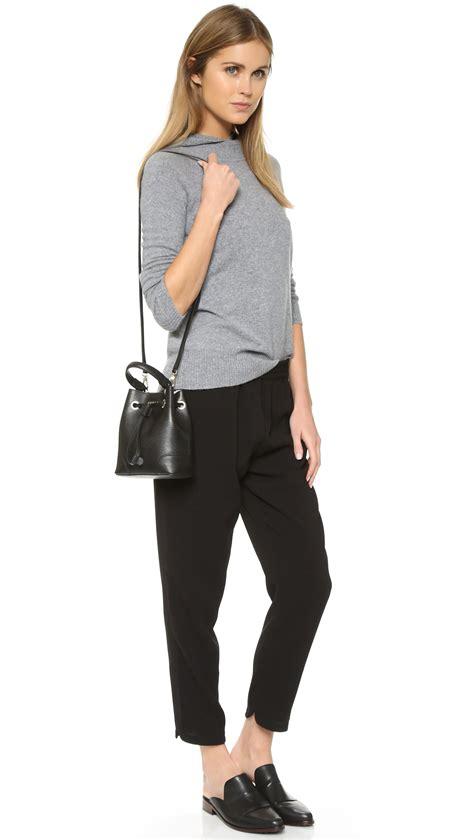 Cowhide Leather Bag Furla Stacy Mini Drawstring Bucket Bag In Black Lyst