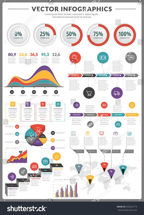 Shutterstock Design Elements And Layout Vector Pack | big pack data visualization vector infographics stock