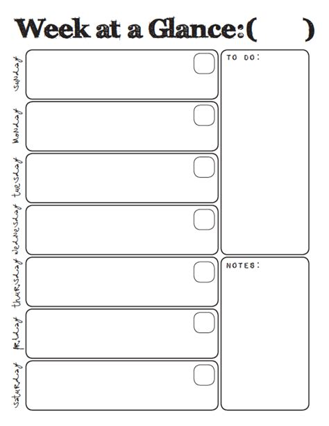 week at a glance lesson plan template week at a glance printable household binder part 1