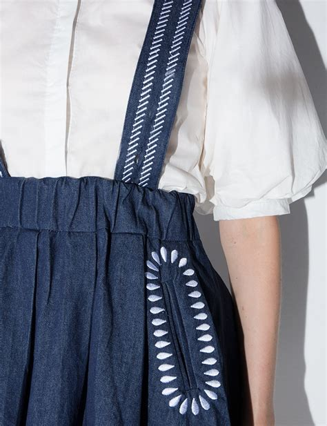 Suspender Denim Skirt lyst pixie market denim suspender skirt in blue