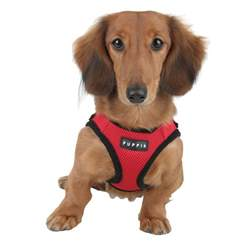 puppia soft mesh harness for dogs red