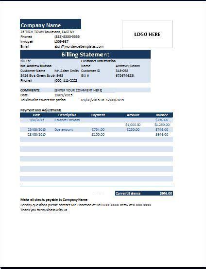 billing statement invoice   invoice table
