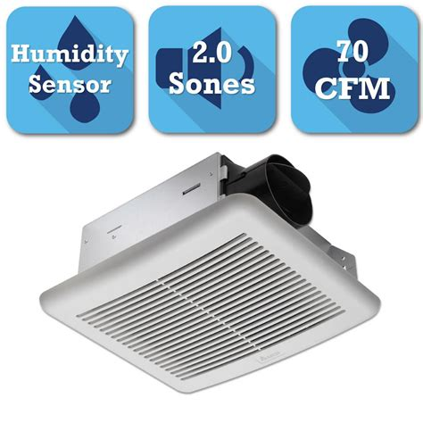 exhaust fan with humidity sensor delta breez slim series 70 cfm ceiling bathroom exhaust