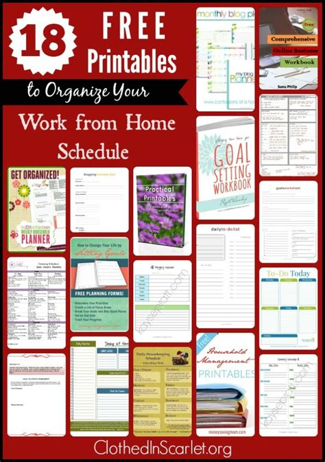Free Work From Home by 18 Free Printables To Organize Your Work From Home Schedule