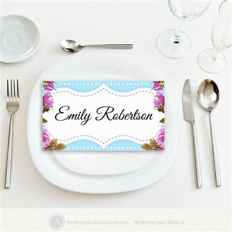printable wedding name tags place card instant download blue