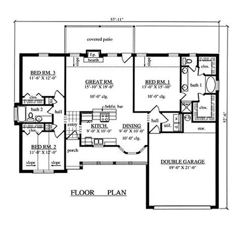 3 bedroom house plans 1504 sqaure 3 bedrooms 2 bathrooms 2 garage spaces 57 11 34 width 52 6 34 depth floor plan
