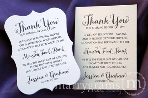 Wedding Gift Money Canada by In Lieu Of Favors Wedding Favor Donation Cards Reception