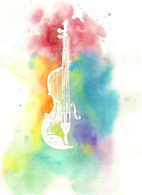 colorful violin wallpaper watercolor violin silhouette colorful rainbow instrument print