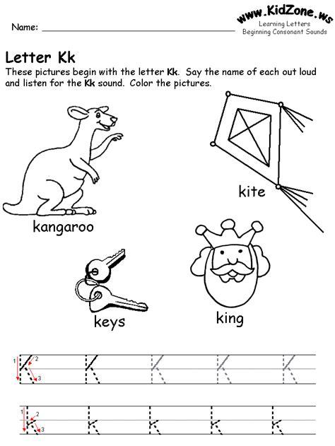Letter K Preschool Worksheets