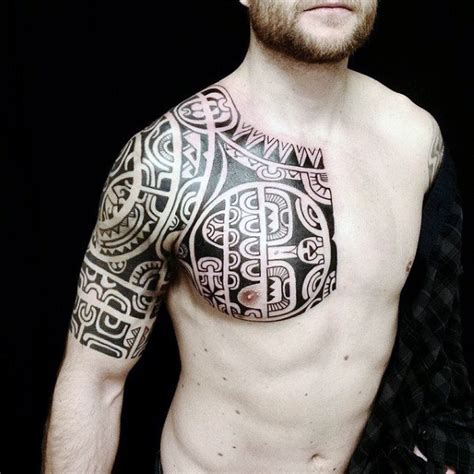 half chest tattoos for men 75 half sleeve tribal tattoos for masculine design ideas