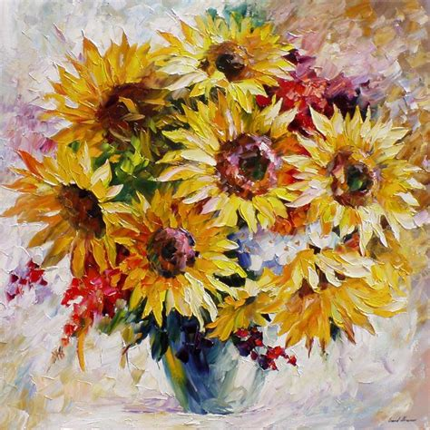 Promo Figure Animal Medium 01 sun flowers palette knife painting on canvas by