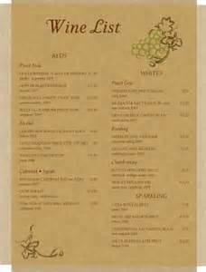 parchment wine list wine list