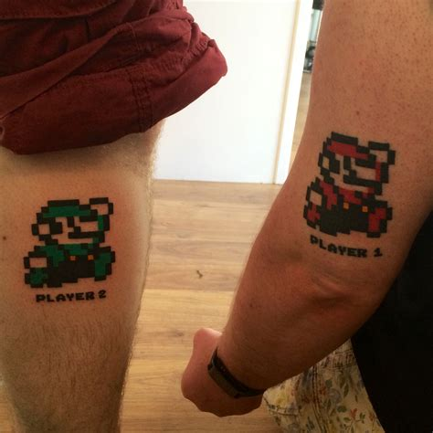 brother tattoos s mario and luigi s