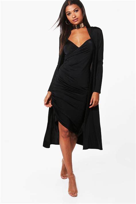 Daster Dress Midi Line boohoo womens isla wrap midi dress duster co ord set ebay