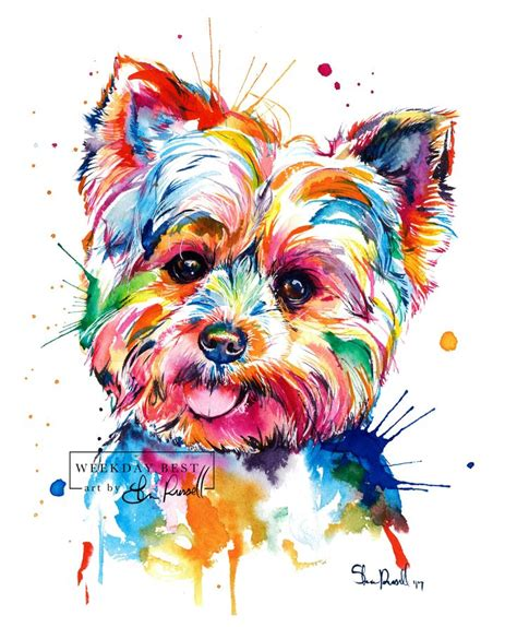 watercolor tattoo yorkshire colorful terrier print print of my yorkie
