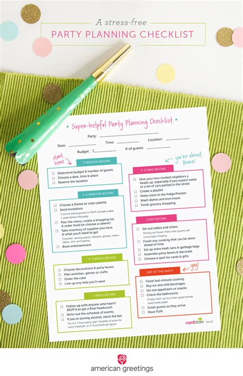printable party planning list a stress free party planning checklist and a free
