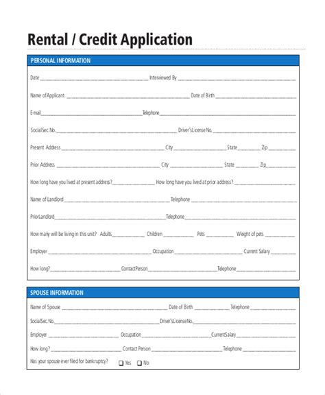 Credit Application Form Bank Rental Application Form 10 Free Documents In Pdf Doc