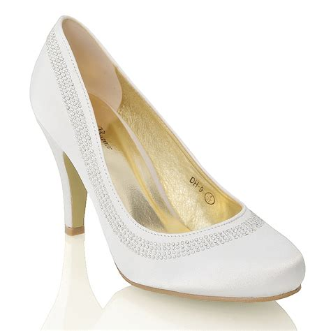 Wedding Shoes Mid Heel by Womens Satin Low Mid Heel Bridal Diamante Prom Slip On