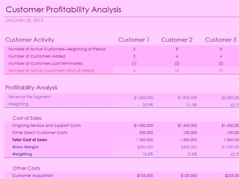 customer service metrics template customer profitability analysis with summary