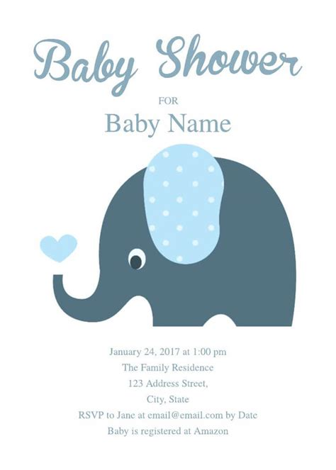 16 Free Invitation Card Templates Exles Lucidpress Elephant Baby Shower Invitations Templates