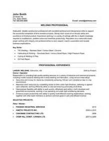Welders Resume by Welder Resume Sle Template
